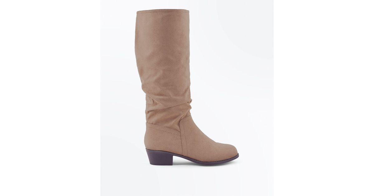 e45f959c064 New Look Wide Fit Light Brown Suedette Slouchy Knee High Boots in Brown -  Lyst