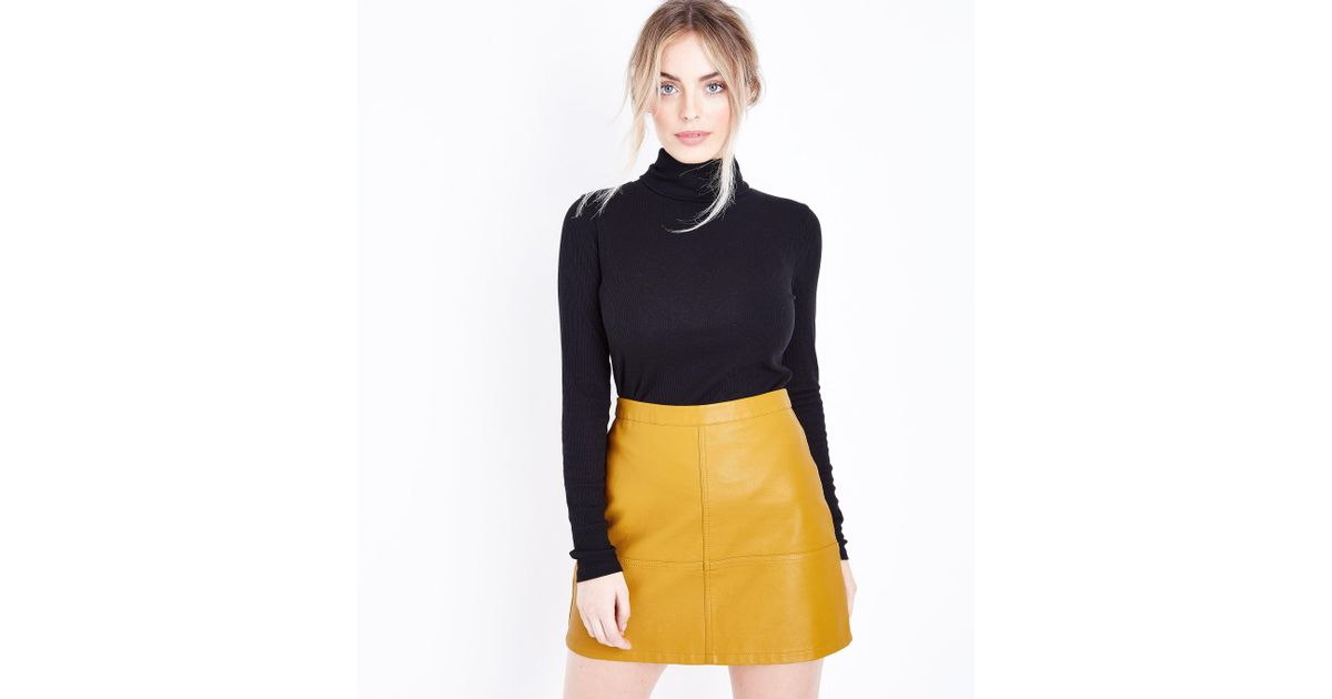 9025cecdc New Look Petite Yellow Leather-look Mini Skirt in Yellow - Lyst