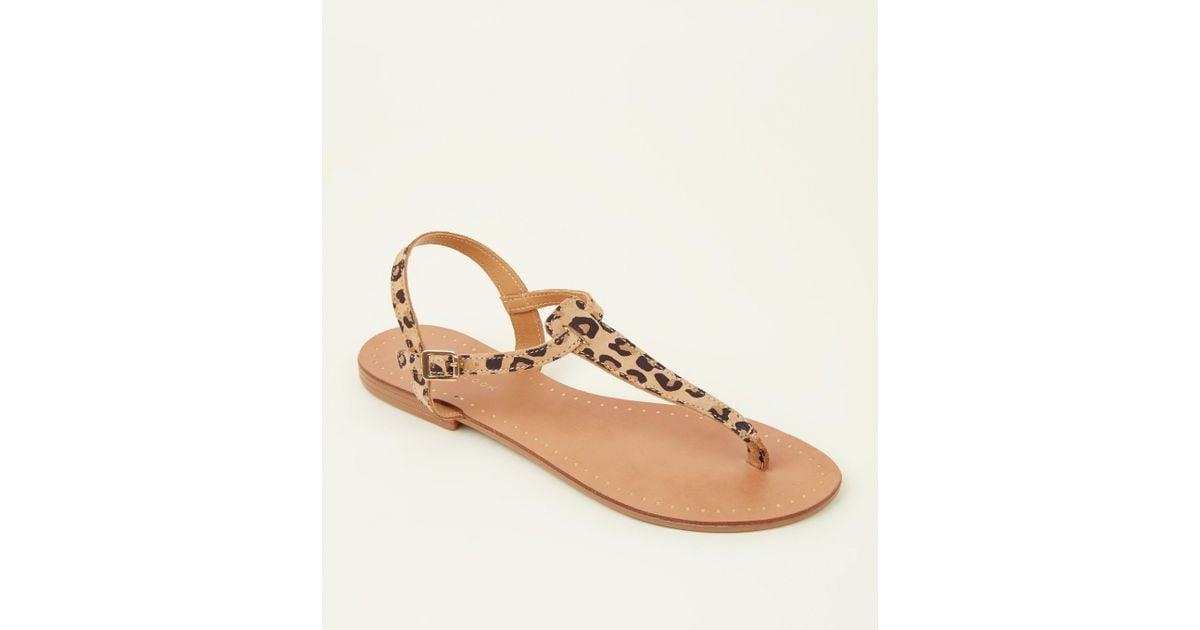 Leopard Lyst New Look Multicolor Print Suede Stone Flat Sandals j543RLAq