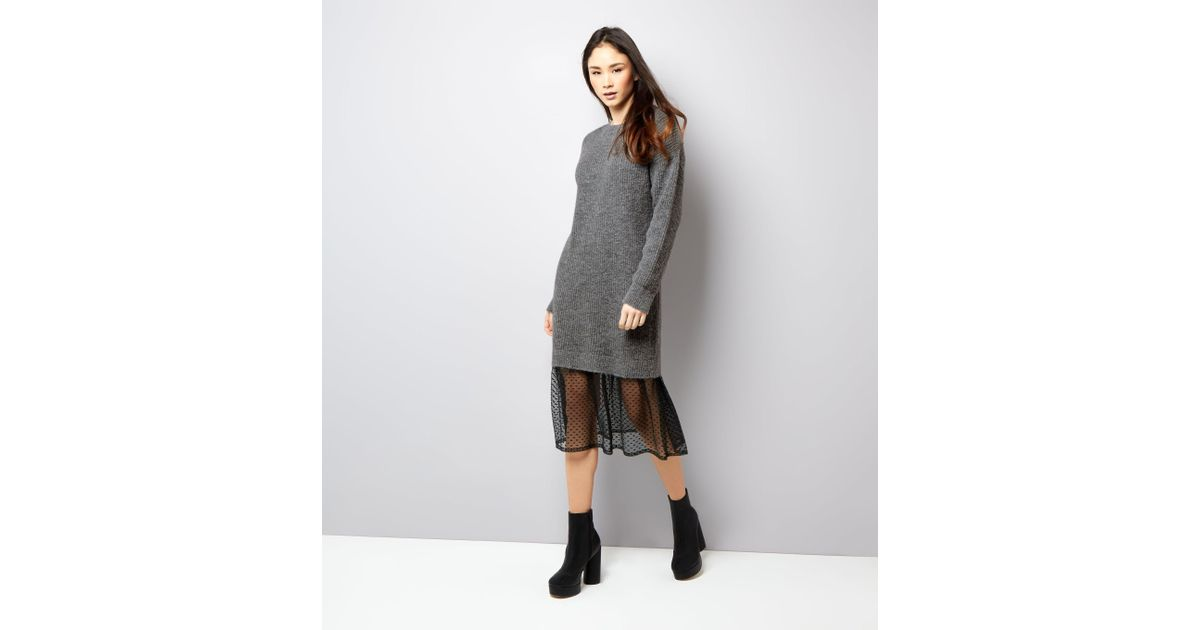 9b9a87684d6 New Look Grey Polka Dot Mesh Panel Jumper Dress in Gray - Lyst