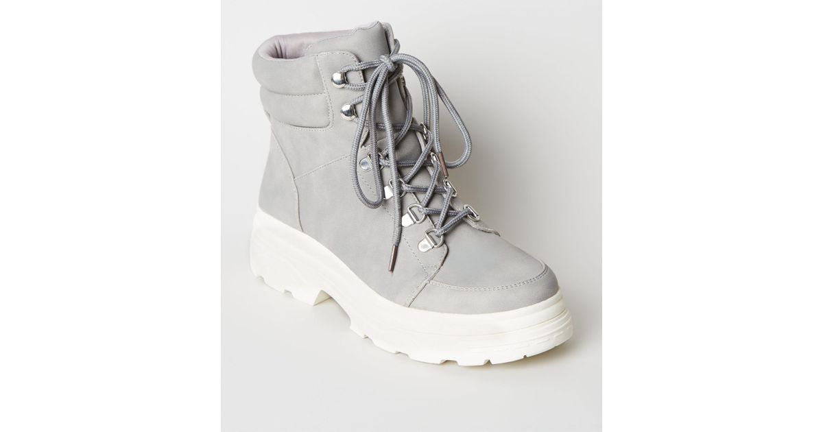 bdb84846bf New Look Grey Chunky Lace Up Hiker Boots in Gray - Lyst