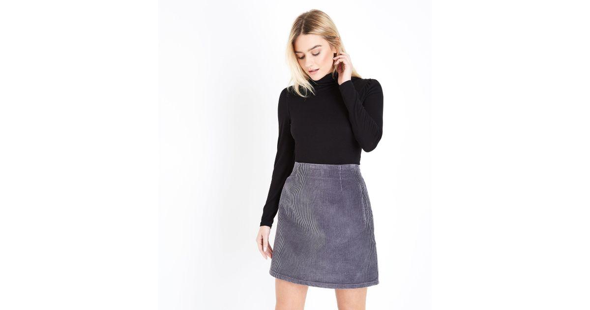 ed3ef51b67 New Look Grey Corduroy A-line Mini Skirt in Gray - Lyst