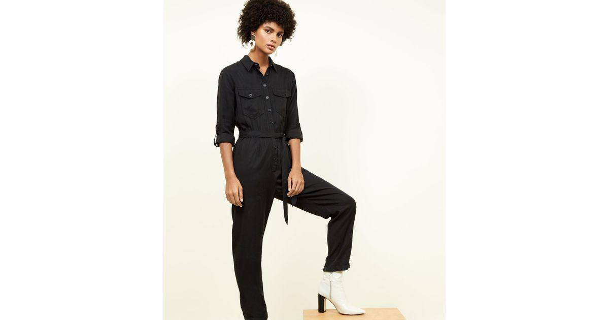 b6652d74932 New Look Black Long Sleeve Utility Jumpsuit in Black - Lyst