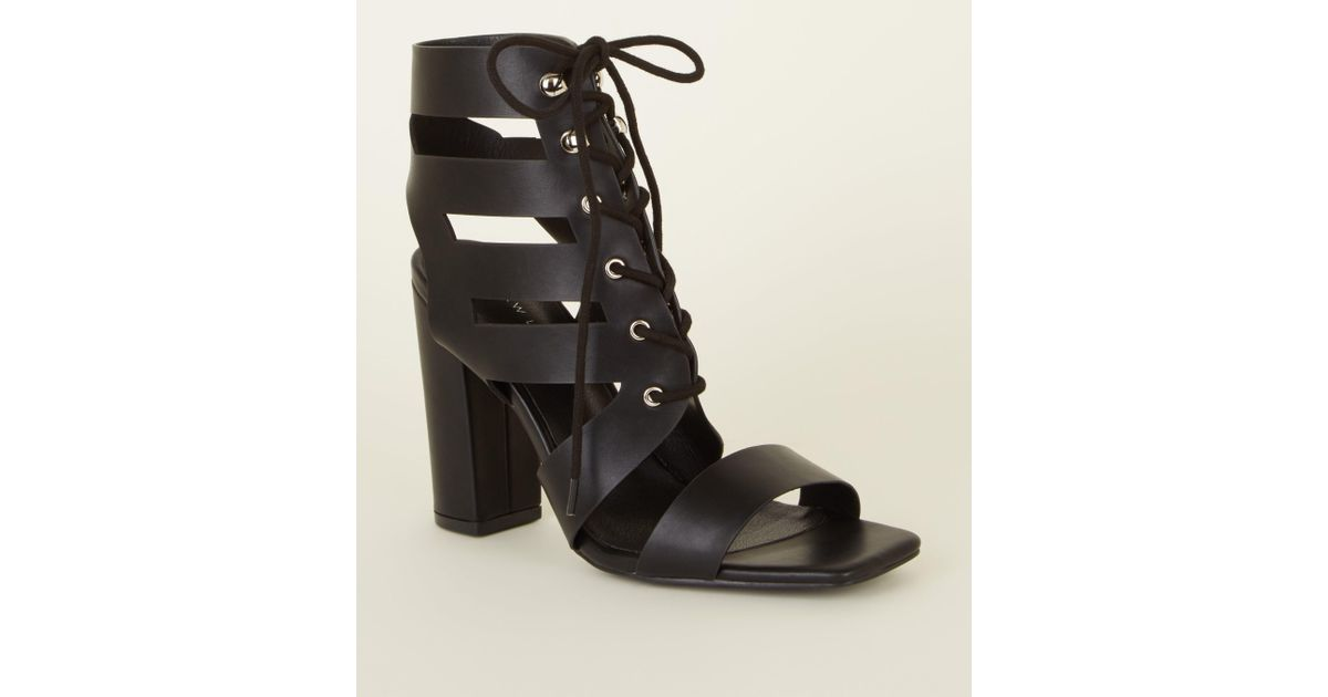 826635d4f1c New Look Black Leather-look Ghillie Lace Up Block Heels in Black - Lyst