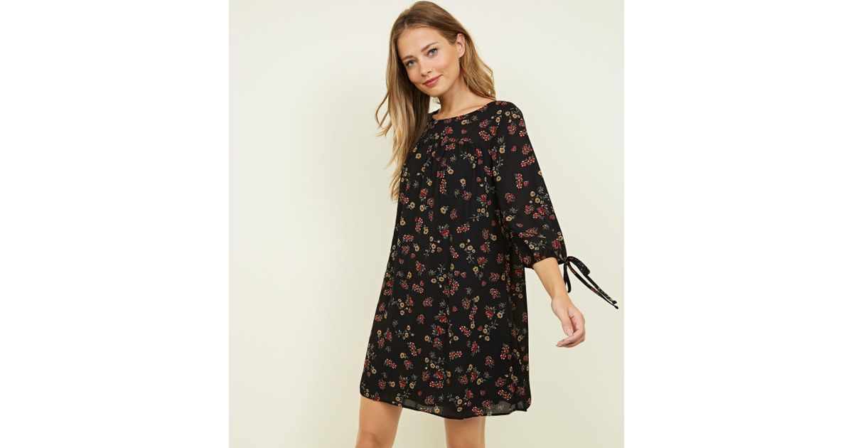87a8345d846 Apricot Black Vintage Ditsy Floral Smock Dress in Black - Lyst