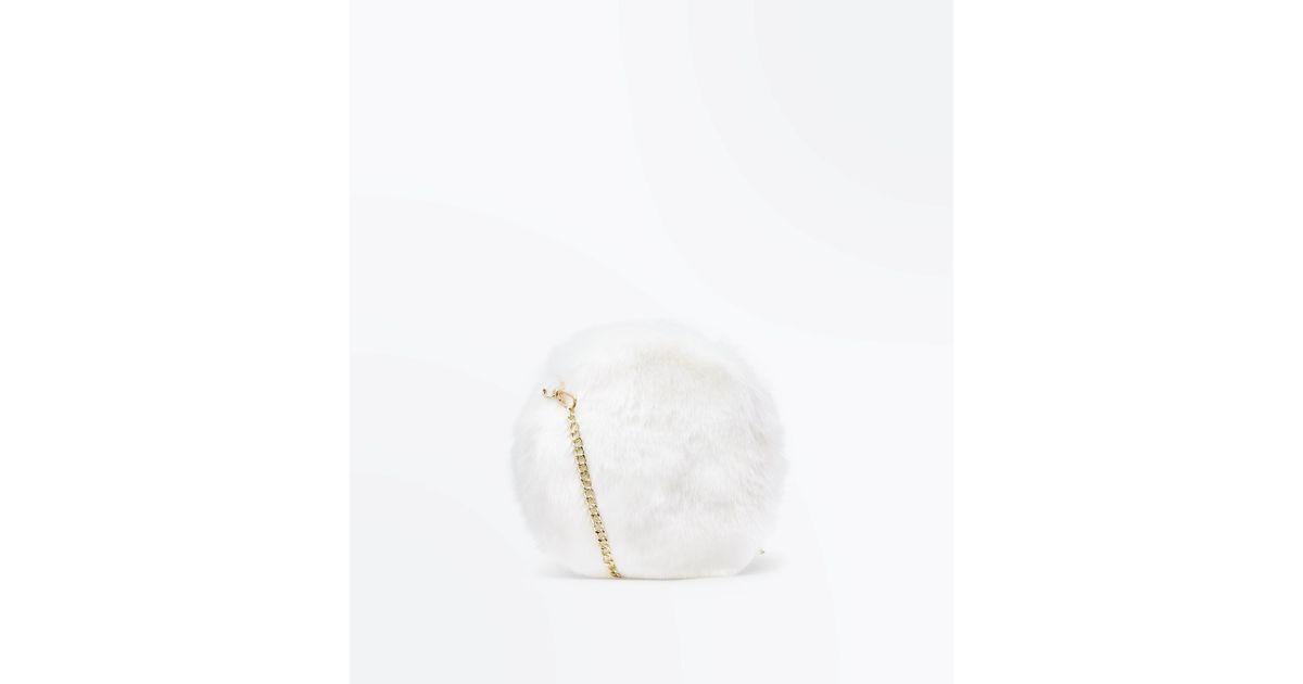 New Look White Faux Fur Round Cross Body Bag in White - Lyst 3aac81afd4