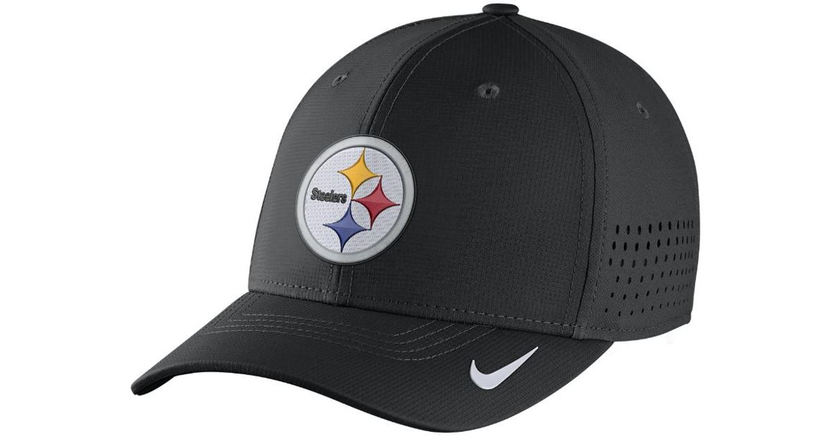 buy popular effc8 e37fa greece lyst nike swoosh flex nfl steelers fitted hat in black for men ccd11  8c042
