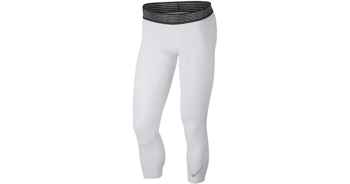 7ab37e3c25b59 Nike Pro Dry Men's 3/4 Basketball Tights in White for Men - Lyst