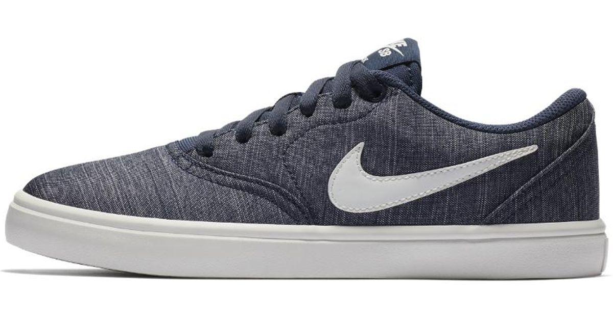 372bc17b28e9 Lyst - Nike Sb Check Solar Women s Skateboarding Shoe in Blue