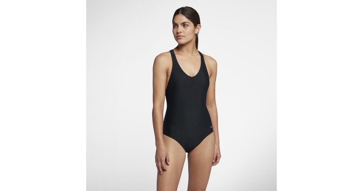 f3abedc7568a6 Nike Rib Racerback One-piece Women's Swimsuit in Black - Lyst