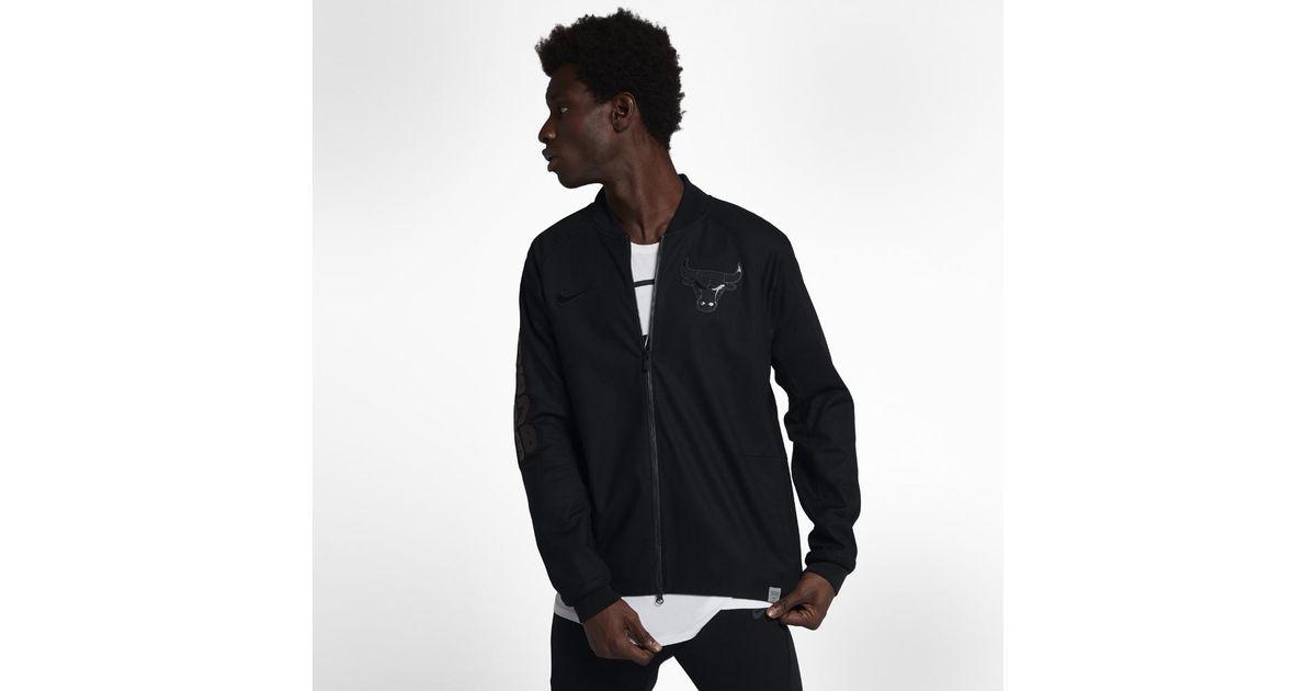 check out aa201 d133f Nike Chicago Bulls Modern Men s Nba Varsity Jacket in Black for Men - Lyst