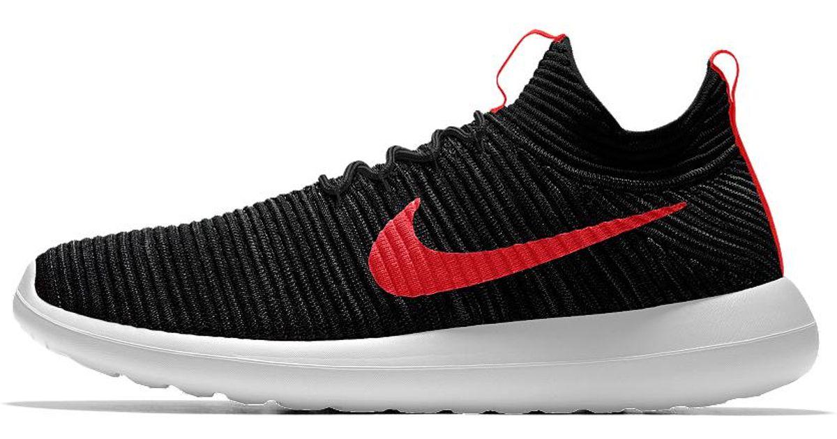6736a28937244 Lyst - Nike Roshe Two Flyknit Id Women s Shoe in Black