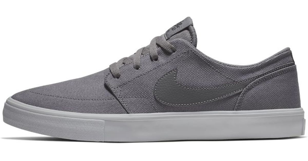 reputable site e15bd c9b84 Lyst - Nike Sb Solarsoft Portmore Ii Canvas Men s Skateboarding Shoe in  Gray for Men