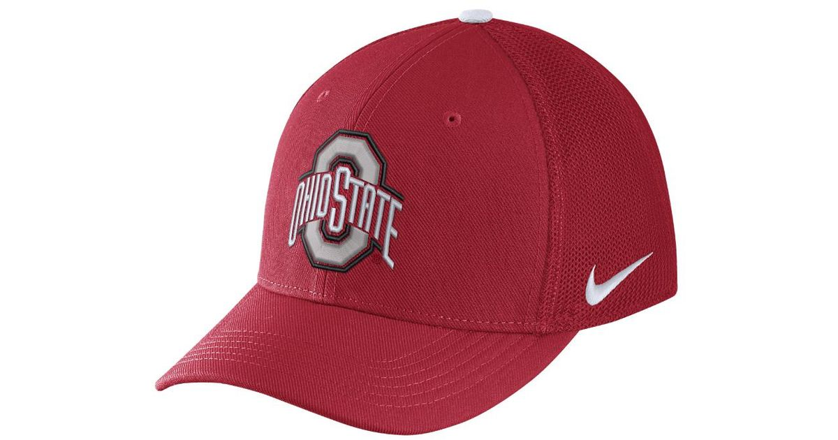 new arrival 42878 1ccba ... switzerland lyst nike college classic 99 swoosh flex ohio state fitted  hat in red for men