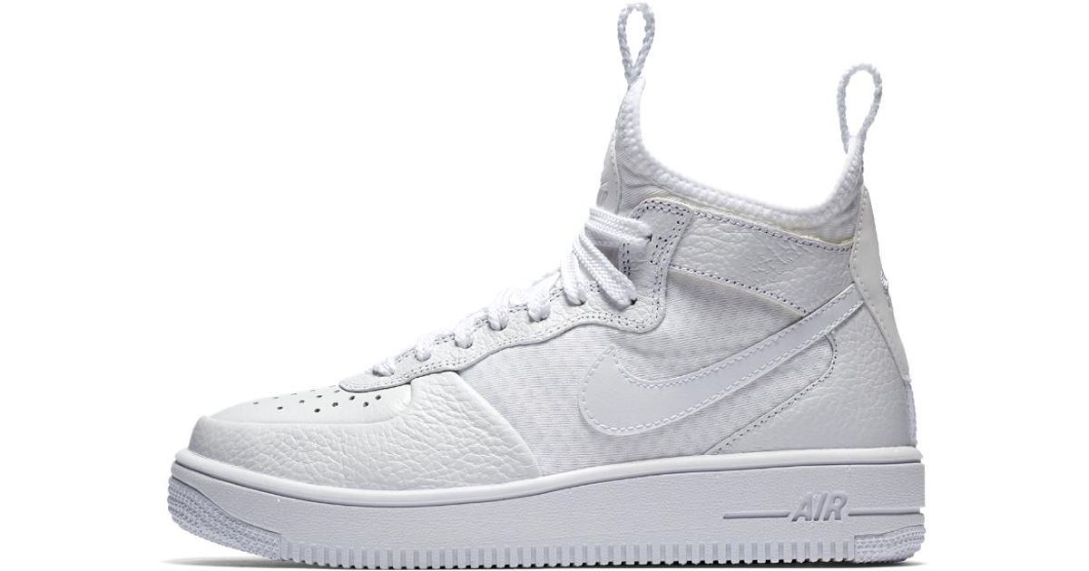 Lyst - Nike Air Force 1 Ultraforce Mid Women s Shoe in White ad4f1beda2