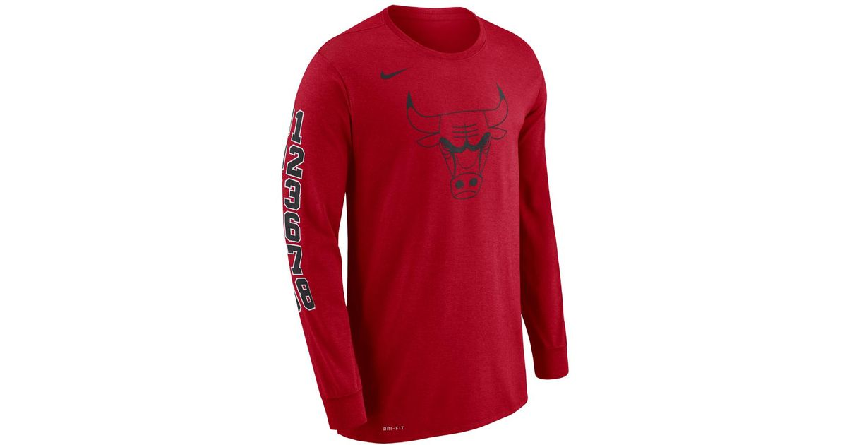 sports shoes 23a5a 129ce Lyst - Nike Chicago Bulls Dry Men s Long-sleeve Nba T-shirt in Red for Men