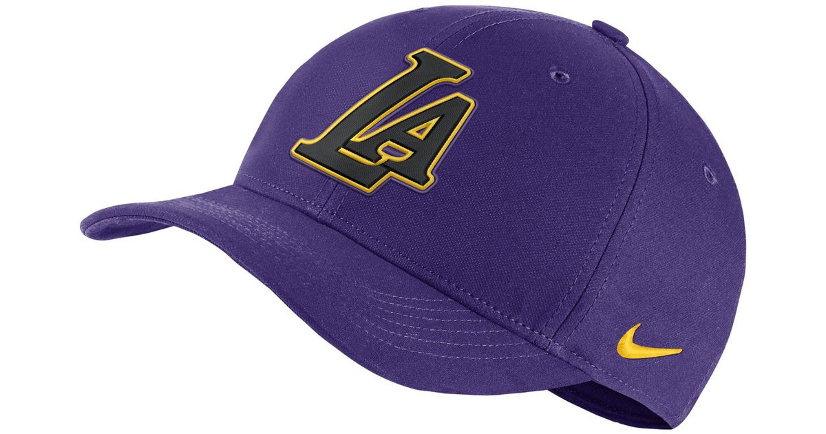 89071038cb789 Nike Los Angeles Lakers City Edition Aerobill Classic99 Nba Hat in Purple -  Lyst