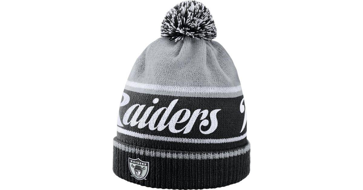 1f3e5f0951b ... shopping lyst nike historic nfl raiders knit hat black in black for men  48555 ad9d1