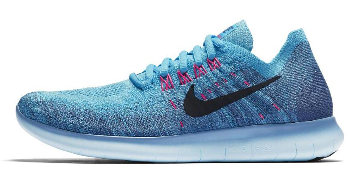 4ad22af799f8 Lyst - Nike Free Rn Flyknit 2017 Women s Running Shoe in Blue