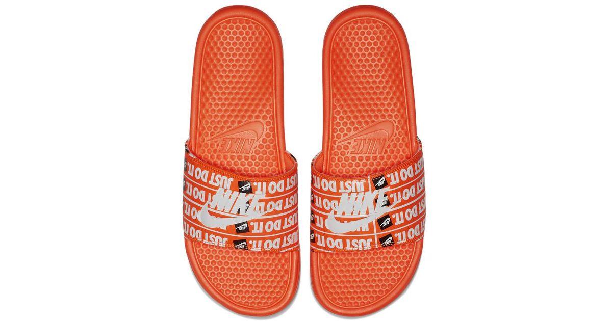 bf78a6e6282be1 Lyst - Nike Benassi Just Do It Print Men s Slide Sandal in Orange for Men -  Save 68%