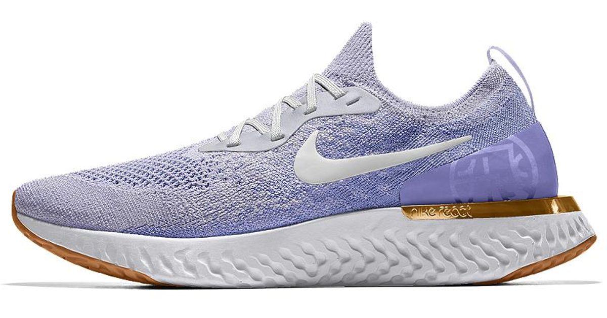 7c7131e80e4a Lyst - Nike Epic React Flyknit Premium Id Men s Running Shoe in Blue .
