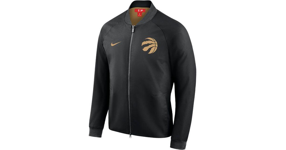 2106e9648 Nike Toronto Raptors City Edition Modern Men s Nba Varsity Jacket in Black  for Men - Lyst