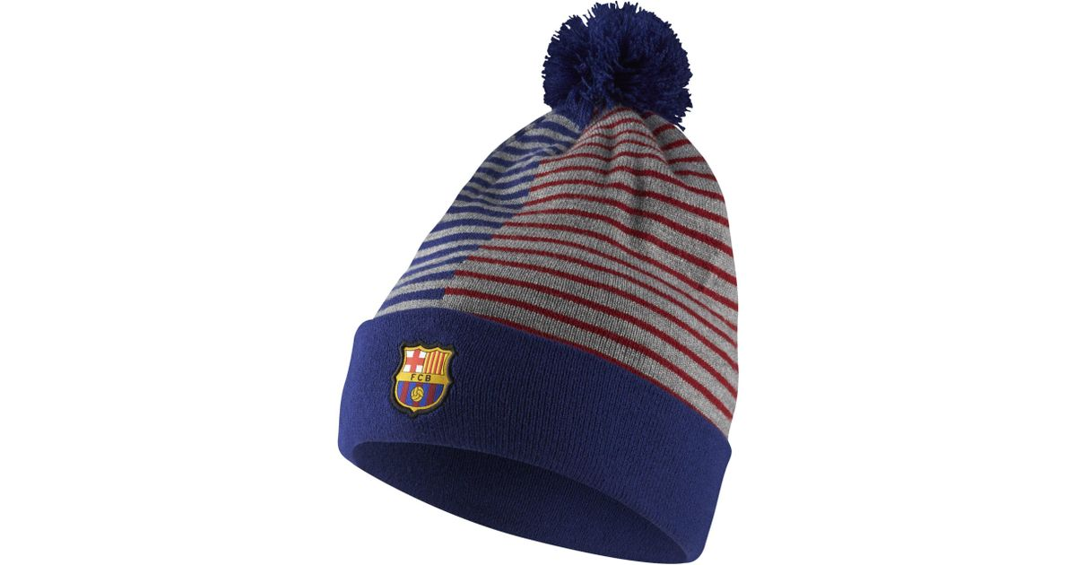 2a4f181c08a germany nike fc barcelona beanie in blue lyst ad178 82d11
