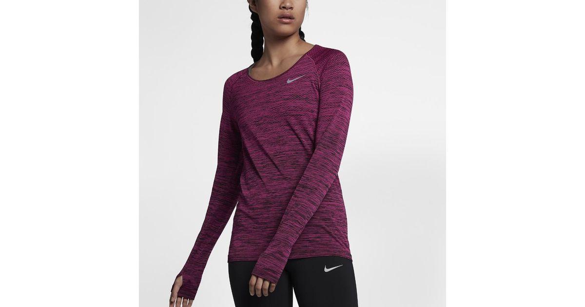 78fe76f59990 Lyst - Nike Dri-fit Knit Women s Long Sleeve Running Top in Purple