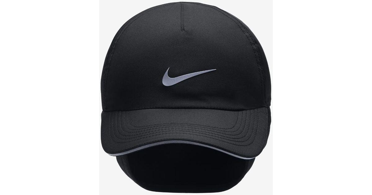 91375e32666 Lyst - Nike Aerobill H86 Ear Flap Women s Adjustable Running Hat (black) in  Black for Men
