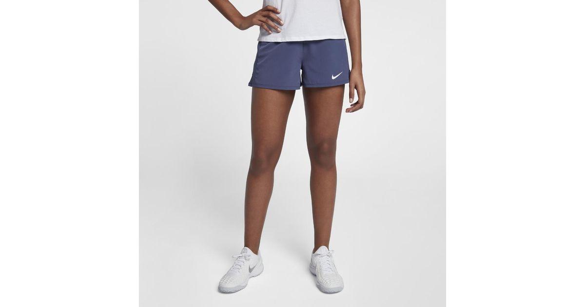 96deeef6bb4f5 Lyst - Nike Court Flex Pure Women s Tennis Shorts in Blue