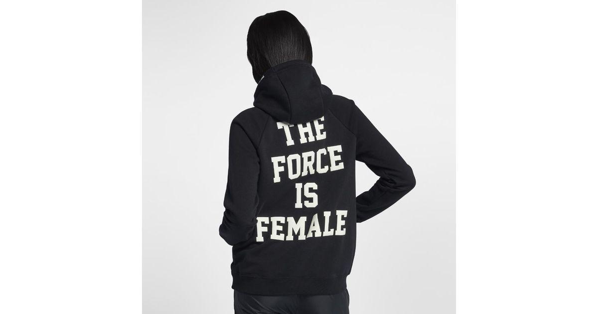 d19b3237657a Lyst - Nike Sportswear Force Is Female Women s Pullover Hoodie in Black
