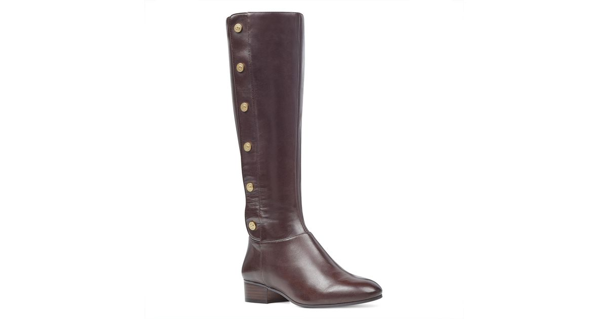 56d074f900e Lyst - Nine West Oreyan Wide Calf Boots in Brown