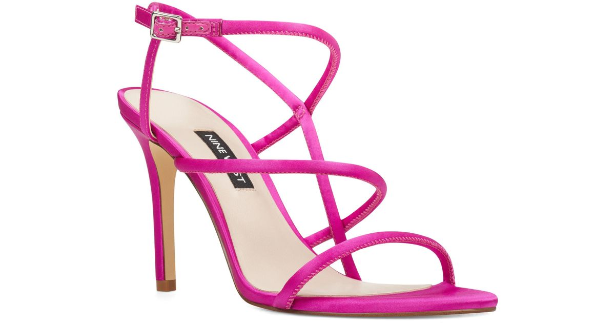 a7a212aaccf3 Lyst - Nine West Mericia Strappy Sandals in Pink