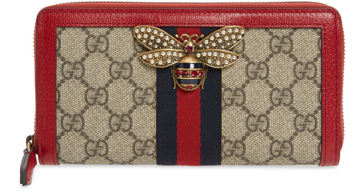 Lyst - Gucci Queen Margaret Gg Supreme Canvas Wallet in Natural 48c418c7c0e3