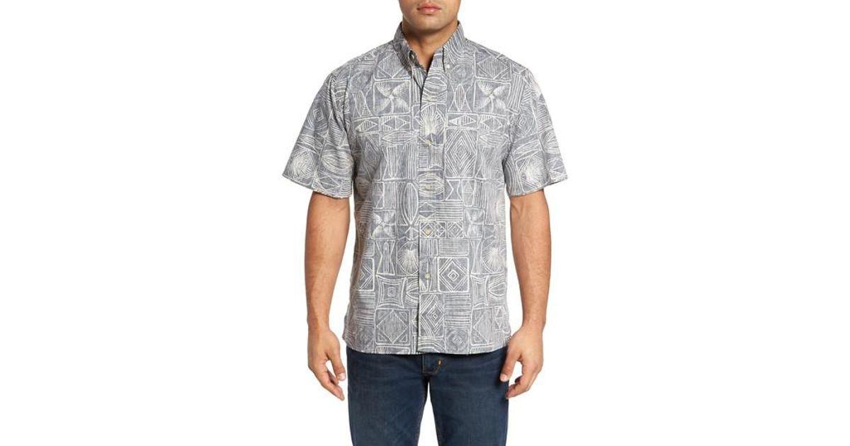 47c2f03e5d21 Lyst - Reyn Spooner Seaside Tapa Classic Fit Print Sport Shirt in Gray for  Men