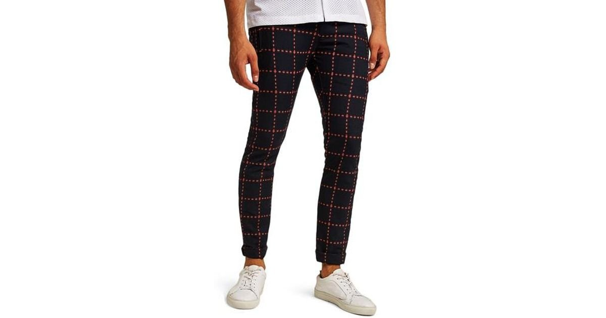 33d892e5e4 Lyst - Topman Crisscross Check Stretch Skinny Fit Trousers in Black for Men
