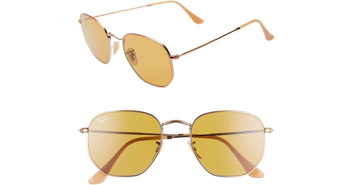 c718ba5d8d Lyst - Ray-Ban 54mm Evolve Photochromic Hexagon Sunglasses in Metallic