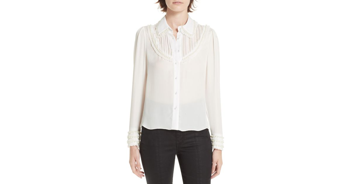 7fcf63216f2366 Alice + Olivia Noreen Pintuck Yoke Blouse in White - Save 19% - Lyst