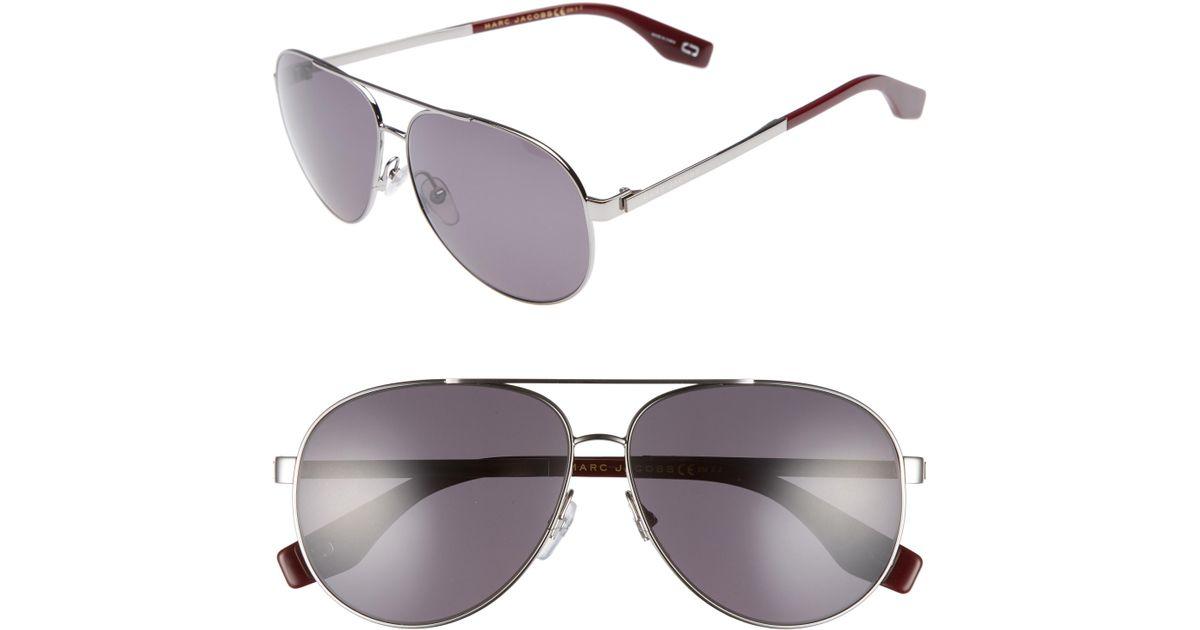 2b1cdb33c2 Lyst - Marc Jacobs 61mm Polarized Metal Aviator Sunglasses - Ruthenium  Polar in Metallic