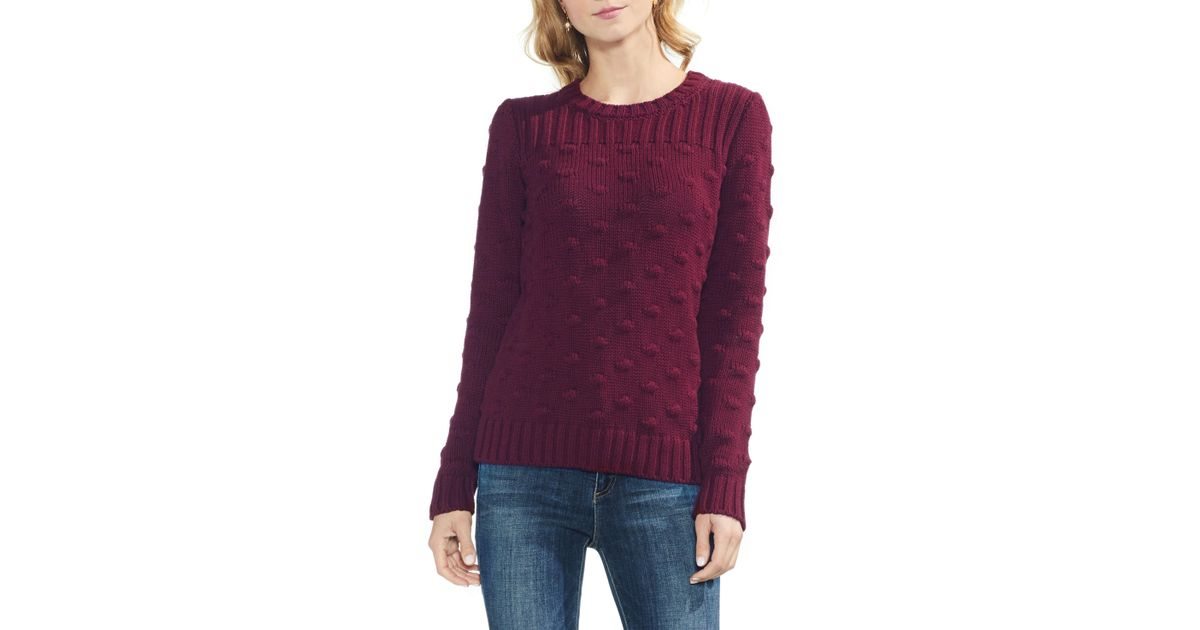 367f7def25a3 Lyst - Vince Camuto Vince Camto Popcorn Stitch Cotton Sweater in Red