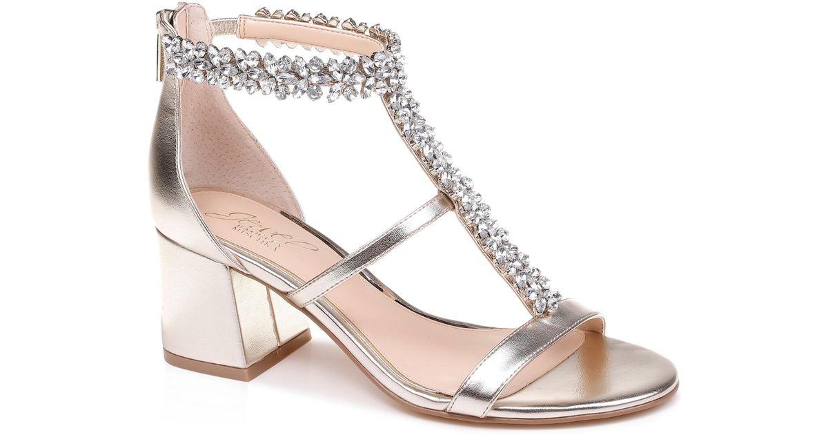 38ee939714a Lyst - Badgley Mischka Janica Block Heel Sandal in Metallic - Save 34%