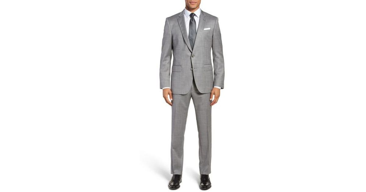 c2f0982ac Lyst - BOSS Hutsons/gander Trim Fit Solid Wool & Silk Suit in Gray for Men