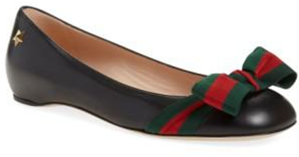 b111836e26c Lyst - Gucci Aline Bow Leather Ballet Flats in Black