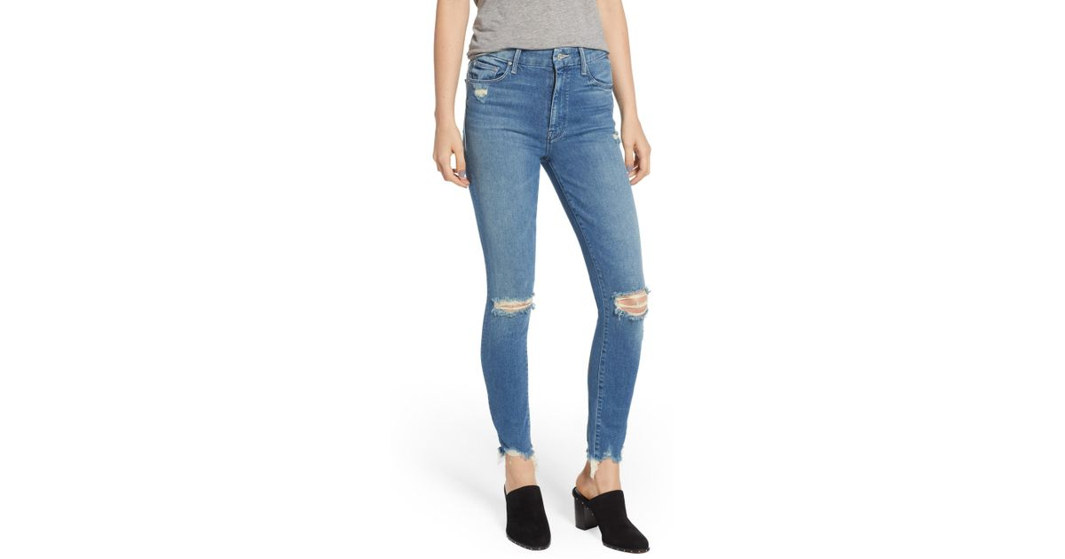 d70a817ae60a Lyst - Mother The Looker High Waist Fray Ankle Skinny Jeans in Blue - Save  38%