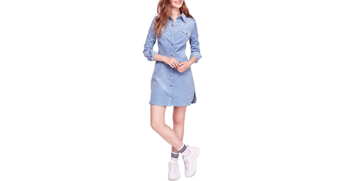 1bc887f660e Lyst - Free People Dynamite In Cord Minidress in Blue