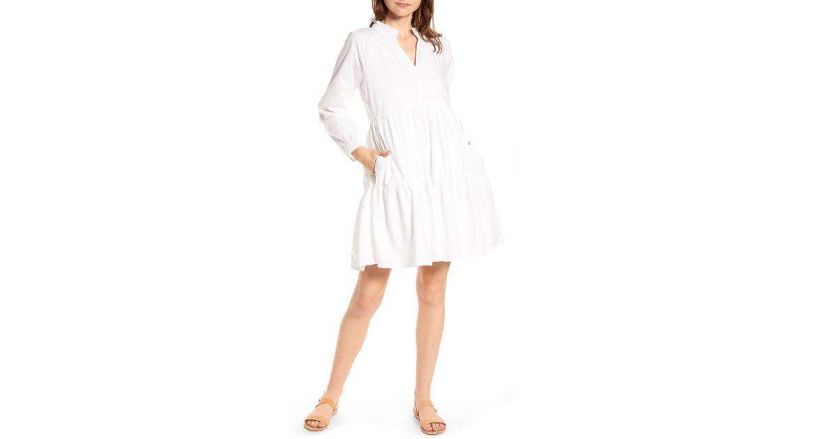 726c185ed8e7b Lyst - J.Crew Tiered Popover Cotton Poplin Dress in White