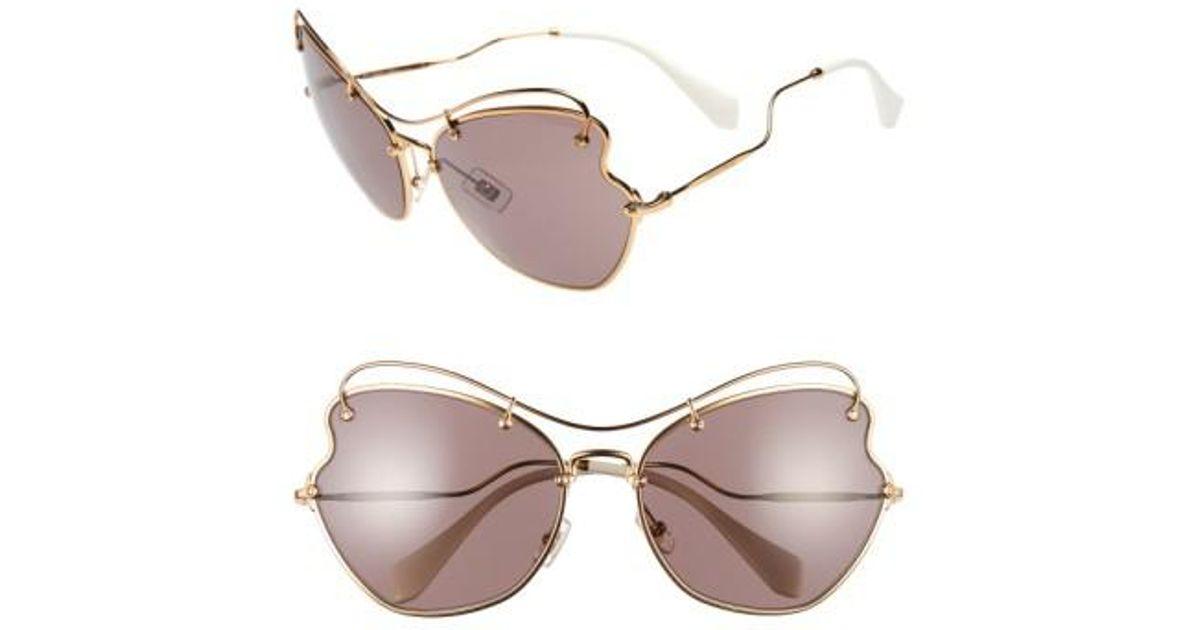 8ba23b0be7 Lyst - Miu Miu 65mm Sunglasses - Light Purple in Purple