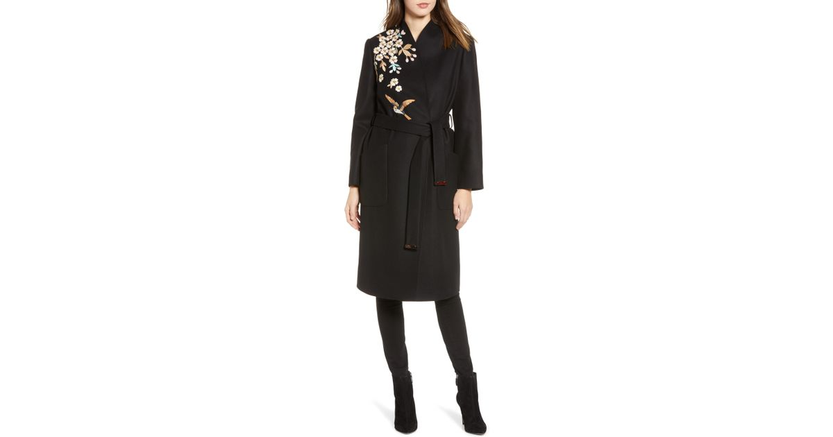 d2e2b3f858ab Lyst - Ted Baker Fennela Embroidered Wool Coat in Black