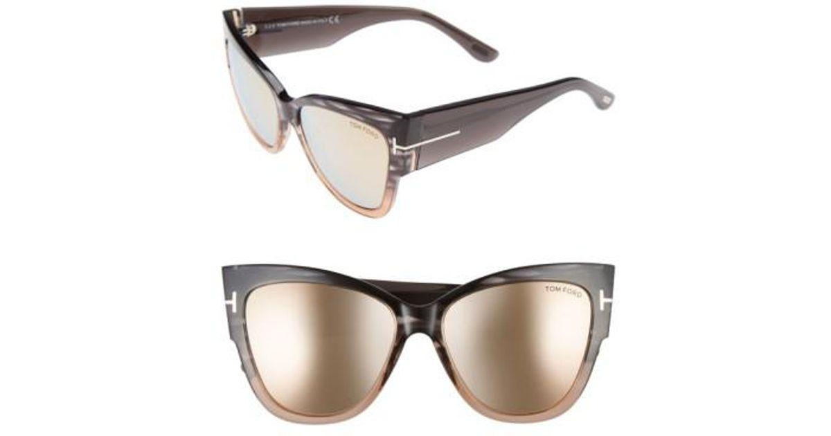 09f090826556 Lyst - Tom Ford Anoushka 57mm Gradient Cat Eye Sunglasses in Gray