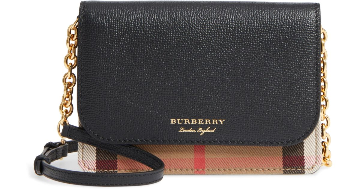 029f3ac9d8cc Lyst - Burberry Hampshire House Check   Leather Wallet On A Chain in Black